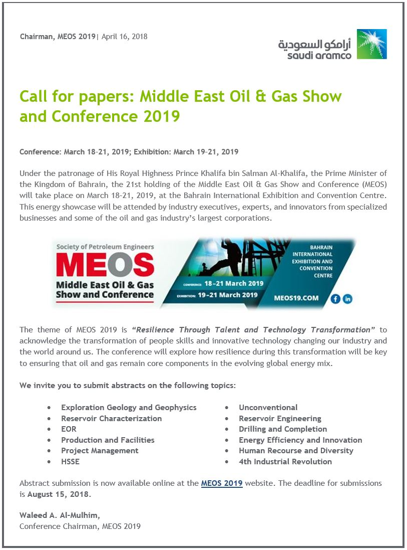 Call for papers: Middle East Oil & Gas Show and Conference