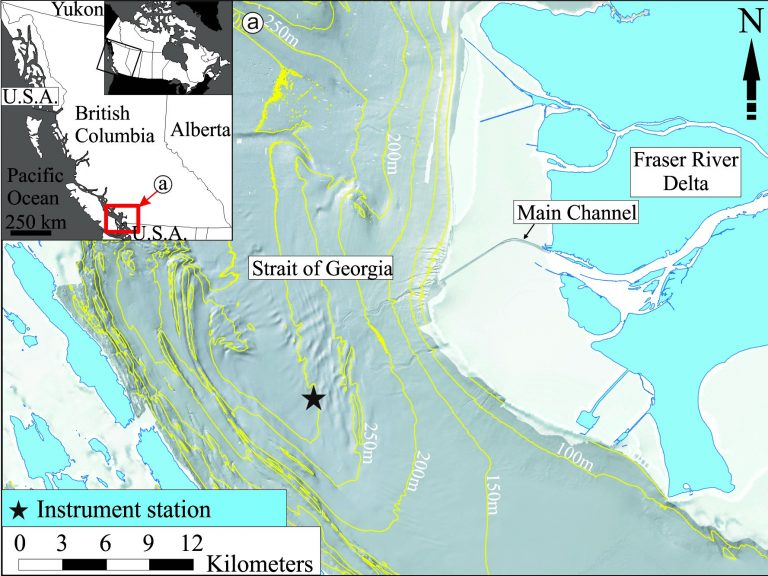 Figure 1. Bathymetric map of the Strait of Georgia off the Fraser River Delta and the position of the instrument station (black star). The inset map shows the position of the study area (red box) in Canada and British Columbia